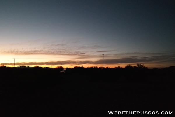 BLM camping Tucson AZ Sunset