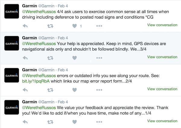 Garmin RV GPS Twitter response