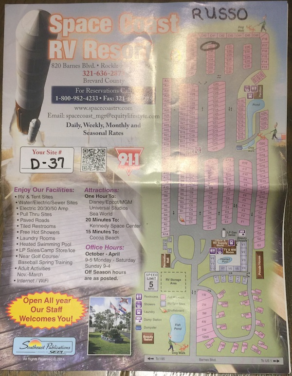 Space Coast RV Resort Map