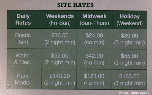 Pine Country RV Resort rates