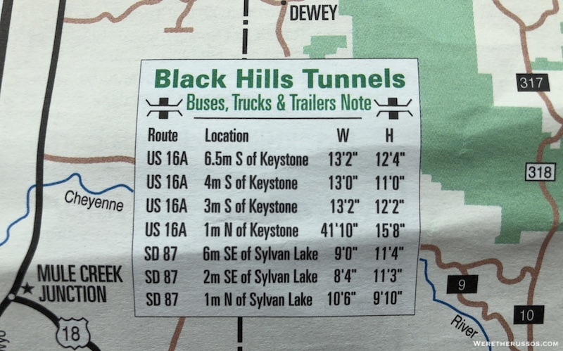 Black Hills Tunnels - Width and Height Restrictions